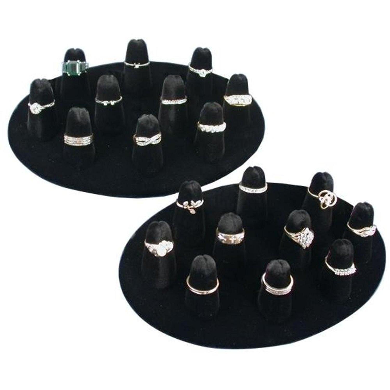 10 Ring Finger Display Black Velvet 2Pcs