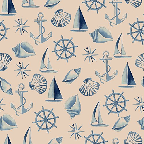 Stitch & Sparkle Fabrics, Nautical, Shell Beige Cotton Fabrics, Quilt, Crafts, Sewing, Cut by The Yard