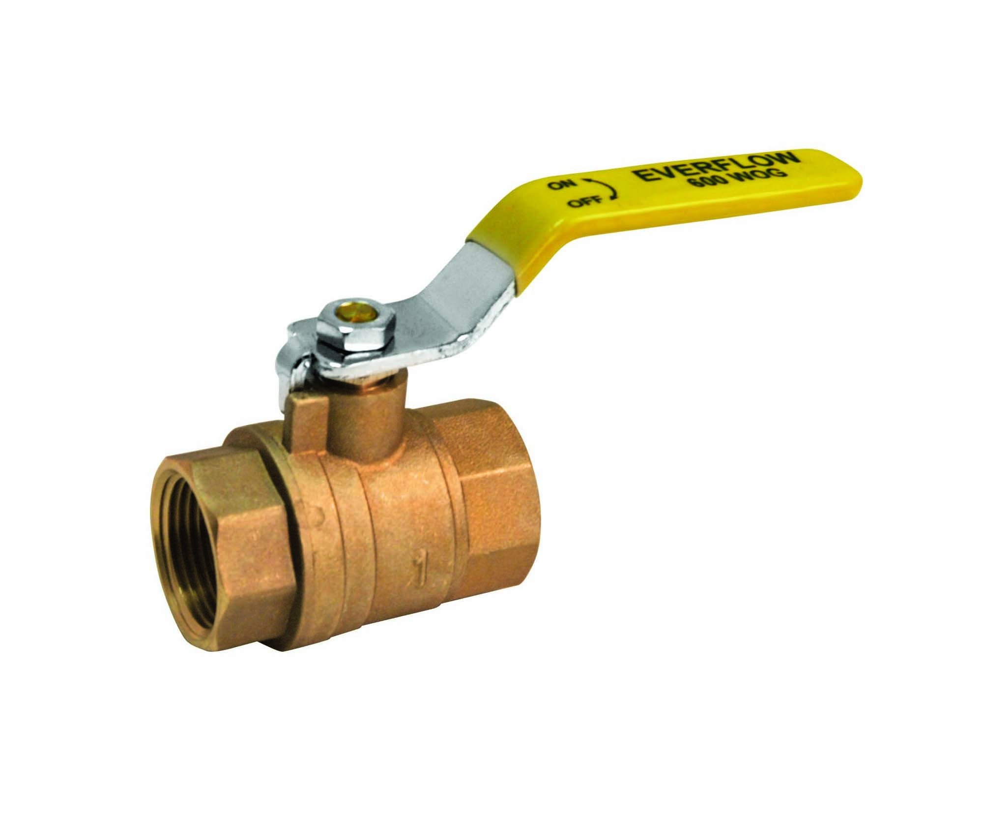 Everflow Supplies 600T114-NL Lead Free Full Port Forged Brass Ball Valve with Female Threaded IPS Connections, 1-1/4''