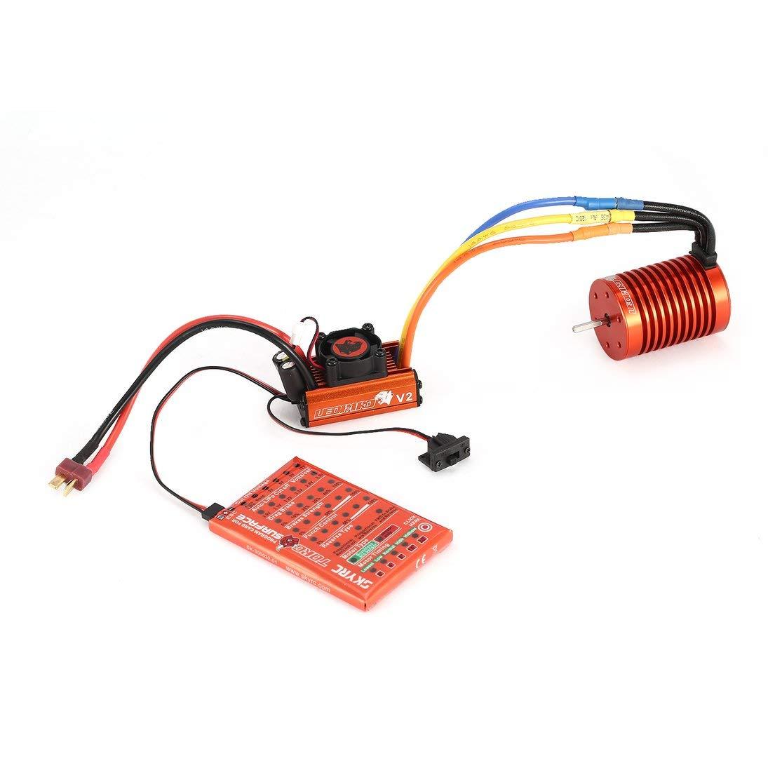 ToGames-ES SKYRC 9T 4370KV Brushless Motor 60A ESC Programming Card Kit for 1/10 RC Car