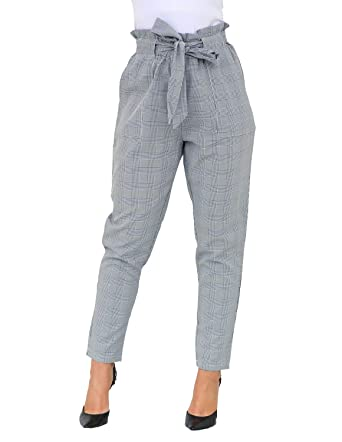 31dbe54d2 Women Summer Paper Bag High Waist Tie Frond Striped Plaid Skinny Baseball Pants  Trousers Pocket with Belt at Amazon Women's Clothing store: