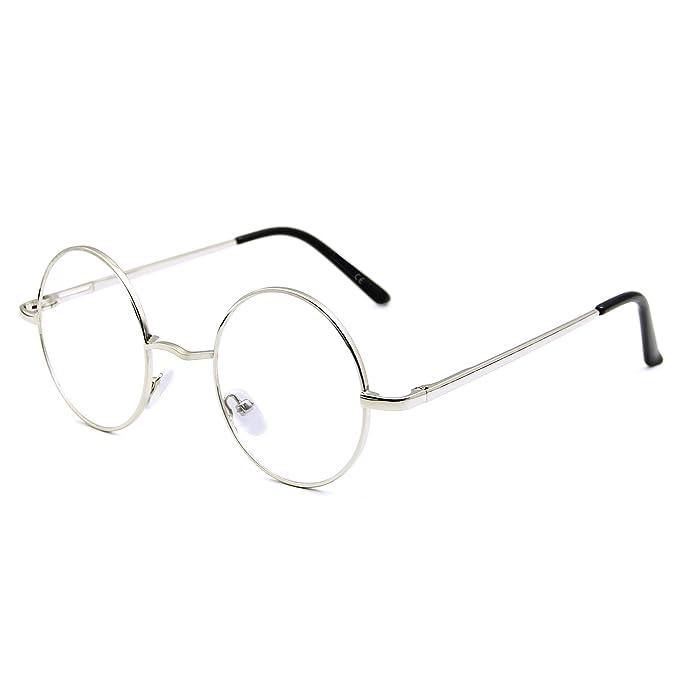 Brille Anti-blaues Licht Computer UV400 Retro Runde Brille Metall Herren Damen ajDAA