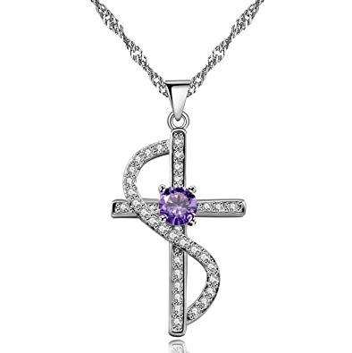 a526f862bcc Uloveido Girls Cross Necklace Infinity Crucifix Pendant for Women Cubic Zirconia  White Gold Plated Criss Jewelry Gift Box Christmas Y443: Amazon.co.uk: ...