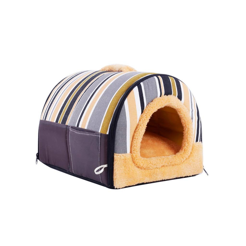 M XBCWW Luxury Cozy 2-in-1 Pet House And Sofa, Indoor Portable Foldable Dog Room Cat Bed Prepare A Warm House For Your Pet (Brown S,M,L) (Size   M)