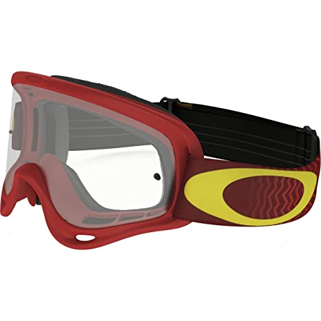 28970942fc Amazon.com  Oakley XS O-Frame Shockwave Men s Dirt Off-Road Motorcycle  Goggles Eyewear - Red Yellow Clear   One Size Fits All  Automotive