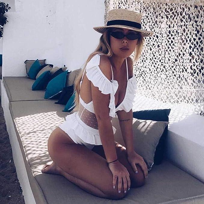 Xturfuo One-Piece Ruffled Bikini Womens Perspective Mesh One-Piece Swimsuit Beachwear