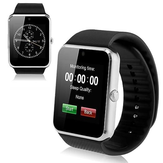 Mobiper® Smart Watch facebook whatsapp Reloj Inteligente Bluetooth V3.0 Pantalla táctil /Monitor de sueño/podómetro/Alarma/ Fotografía remoto/sensor ...