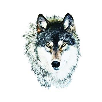 0a2de359e8414 Amazon.com : WYUEN 5 Sheets Wolf Temporary Tattoo Women Body Art Tattoo  Sticker For Men Fake Waterproof Sticker 9.8X6cm FA-317 : Beauty