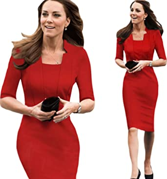 Unomatch Kate Middleton Wrinkle Based Top Collar Neck Knee Length