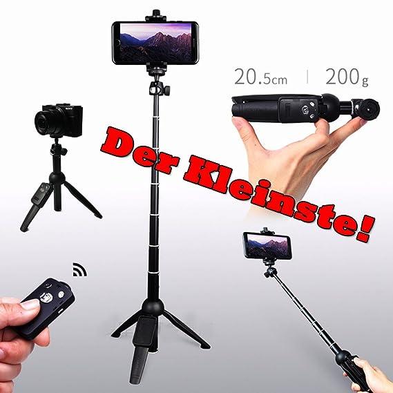 Yunteng Mini-Tripod, Kombination aus Bluetooth-Kamerastativ und Selfie-Stick, Unter 200g Leicht, Nur 20 cm Länge, Extrem Komp
