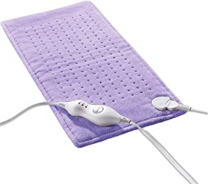 Electric Heating Pad with Fast-Heating Technology, 3 Heat Settings, Soft Plush Heat Therapy for Neck Shoulder Back Pain Relief 12x24 Inch, Dry/Moist Heating Therapy