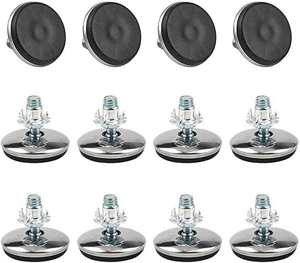 TOVOT 12 Pairs M8 36mm Furniture Levelers Adjustable Leveling Foot Furniture Table Chair Legs w/T-Nuts for Furniture (12 PCS Furniture Leg Screws & 12 PCS T-Nuts)