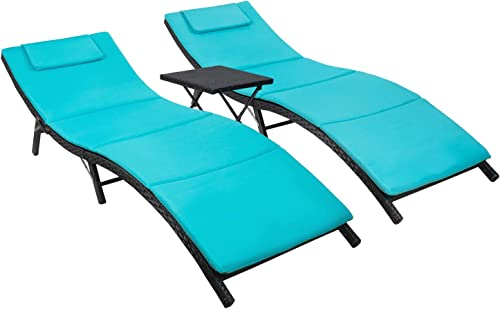 Flamaker 3 Pieces Patio Chaise Lounge with Cushions Unadjustable Modern Outdoor Furniture Set PE Wicker Rattan Backrest Lounger Chair Patio Folding Chaise Lounge with Folding Table Blue