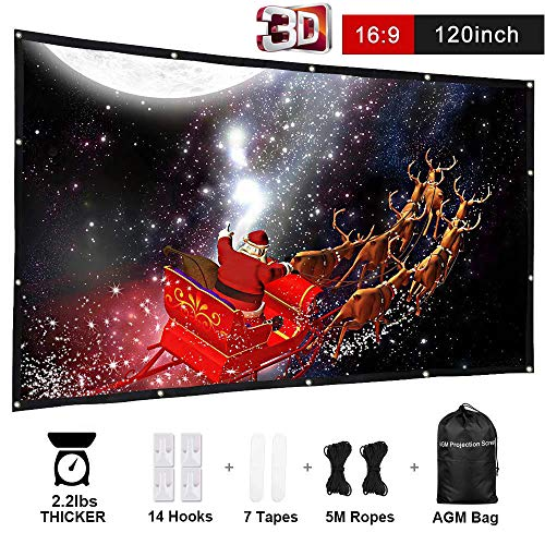 AGM 120 Inch 16:9 Anti-Crease Foldable Outdoor Double Sided Indoor Outdoor Projection with Bag for Camping, Home Theater Movies, Classroom Training, Public Display (USA Seller) ()