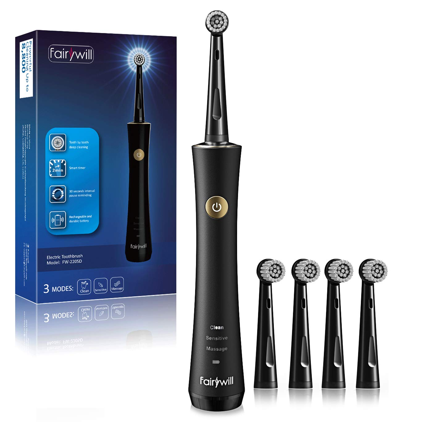 Fairywill Rotary Rotating Electric Toothbrush - For A Powerful Dentist Like Clean with 3 Modes, Waterproof with A Built In Timer, Rechargeable with A Low Battery Reminder, and 2 Brush Heads In Black