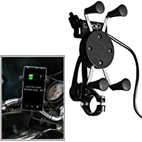 Fulgent Motorcycle X-Grip Cell Phone GPS Mount Holder with USB Charger for All Bikes.
