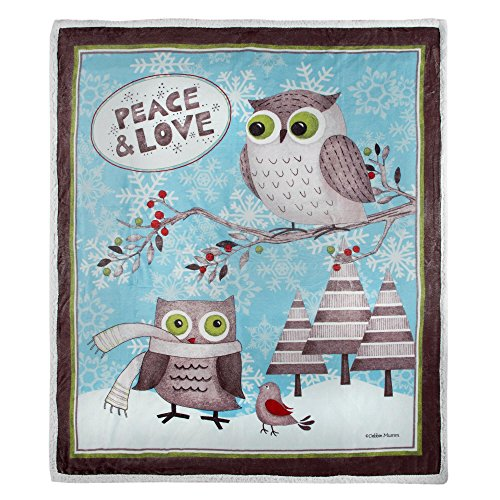 (Owls and Snowflakes Peace and Love Festive 50 x 60 Throw )