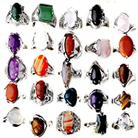 Nongkhai shop CH Wholesale Jewelry Lots 10pcs Natural Stone Silver Plated Rings