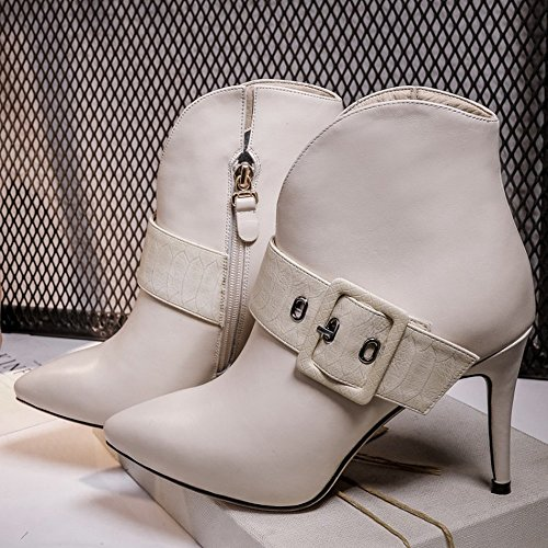 HH Autumn and Winter Pointed Belt Buckle Side Zipper Stiletto Boots with Leather Boots Women Leather Beige FOlcQ13