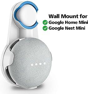 SPORTLINK Wall Mount for Nest Mini (2nd Gen), Outlet Hanger Compatible with Google Home Mini (1stGeneration), Compact Holder Case Plug in Kitchen Bathroom Bedroom, HidesTheOriginalLongCord(White)