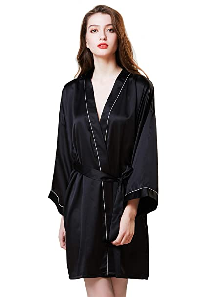 921796e838 Women Satin Robe Kimono Silk Pure Color Short Silky Bathrobe Sleepwear  Nightgown Pajama Black