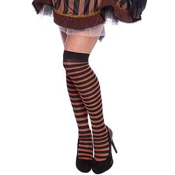 Steampunk Overknees Kostümzubehör braun schwarz