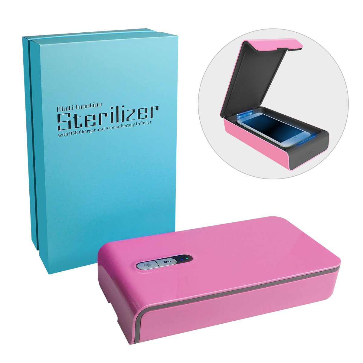 Aneforall Smart Phone UV Sanitizer Portable UV Light Cell Phone Sterilizer Cleaner Aromatherapy Function Disinfector with USB Charging for iPhone Android Smart Phone Toothbrush Jewelry Watches-Pink by Aneforall