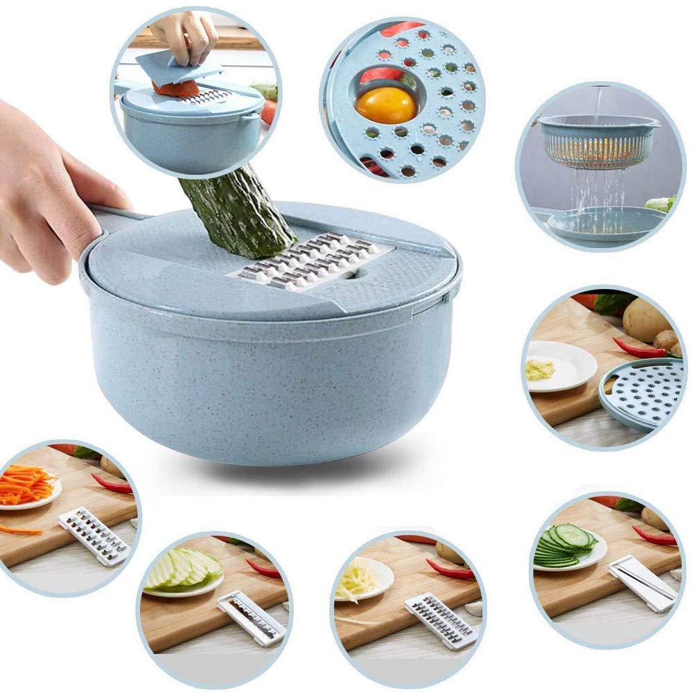 Mandolin Slicer, Kitchen Cutter Vegetable Slicer Adjustable Mandoline Food Choppers, 8 in 1 Slicer with Food Storage and Filter Basket