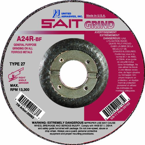 United Abrasives SAIT 20063 Type 27 4-1/2-Inch x 1/4-Inch x 7/8-Inch Grade A24R Long Life Depressed Center Grinding Wheels, 25-Pack