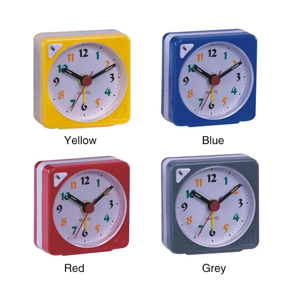 R/éveil Compact Veilleuse Conception /À Piles Lumineux Portable Snooze Mini Analogique Quartz en Plastique Durable L/éger Non Ticking Rouge