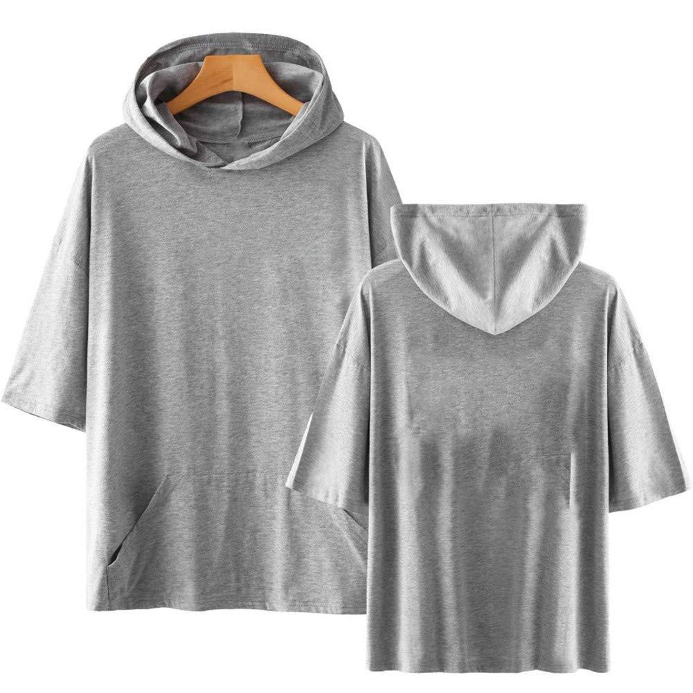 SUNMAIO Mens Hooded Sweatshirt Solid Color Summer Short Sleeve Hip Hop Cool