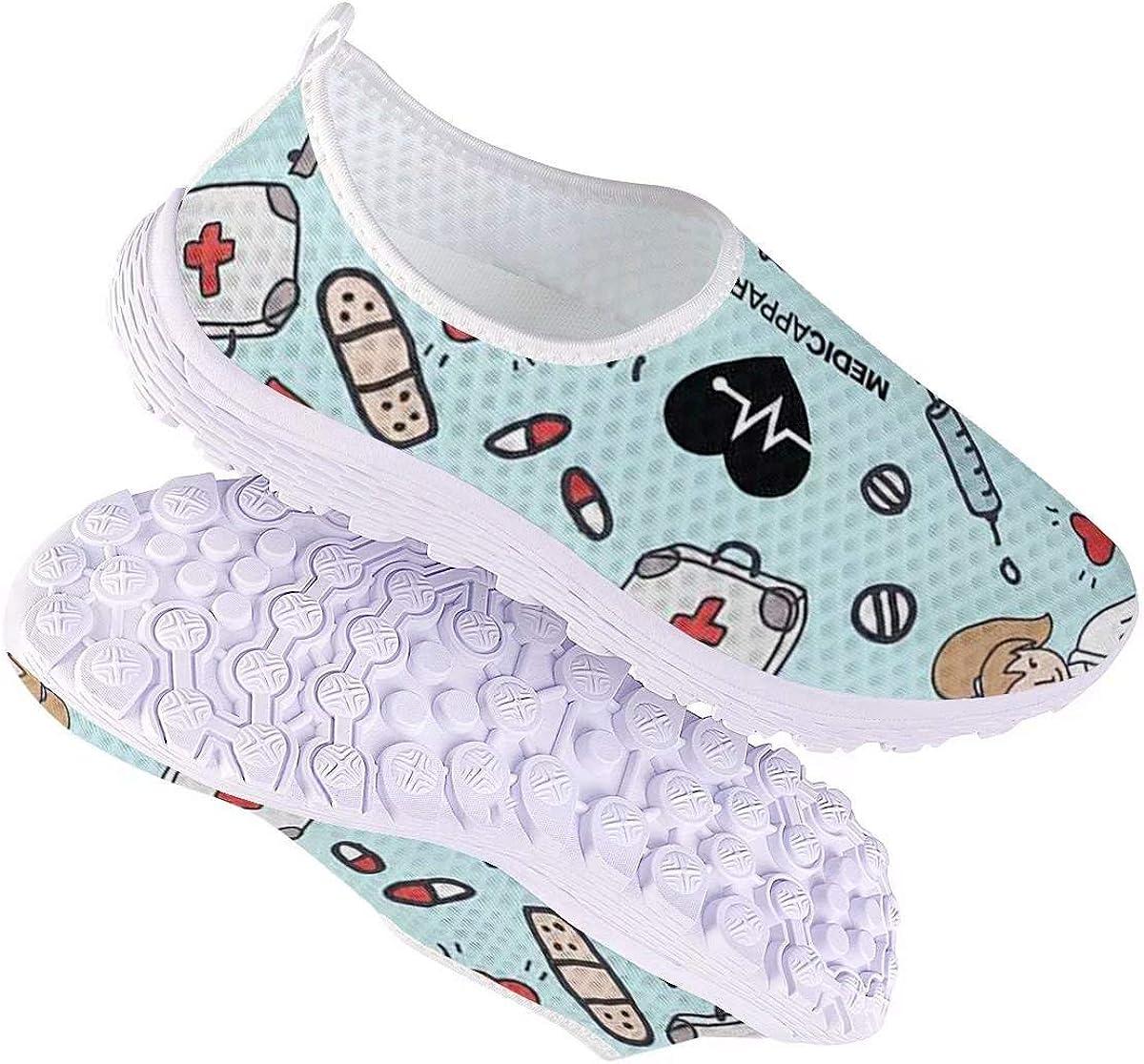 chaqlin Slip-on Chaussures de Marche Léger Vacances d'été Plage Chaussures d'eau Route Running Baskets et Chaussures de Sport 36EU-43EU Cartoon Nurse Pattern 4