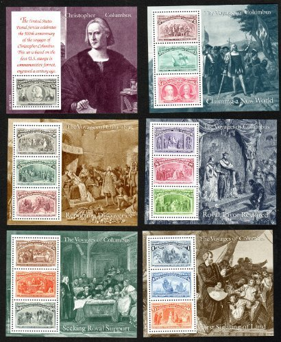 1992 Voyages of Christopher Columbus Souvenir Sheets - Set of Six Scott 2624-29 by USPS