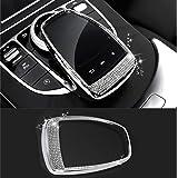 TopDall Bling Crystal Interior Media Control Emblem Cover Compatible for Mercedes Benz