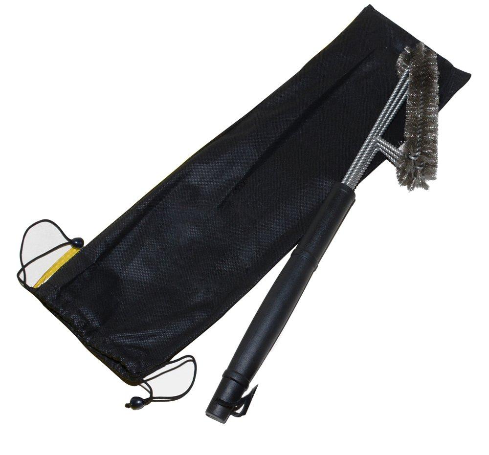 Brosse de barbecue par Asscom - 18' - 3 brosses en acier inoxydable en 1 et une petite brosse en 100% silicone – Le meilleur nettoyeur de Barbecue – Nettoyeur cuisinier métalliques utilisé en plein air pour nettoyage des piè