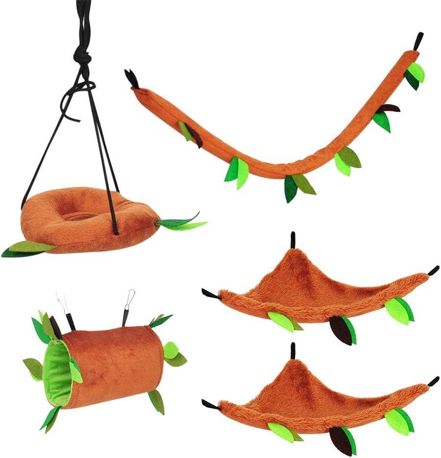 IHOMYIPET - Juego de juguetes para la jaula para mascotas pequeñas, petauro del azúcar, con diseño de bosque con hojas, 5 piezas