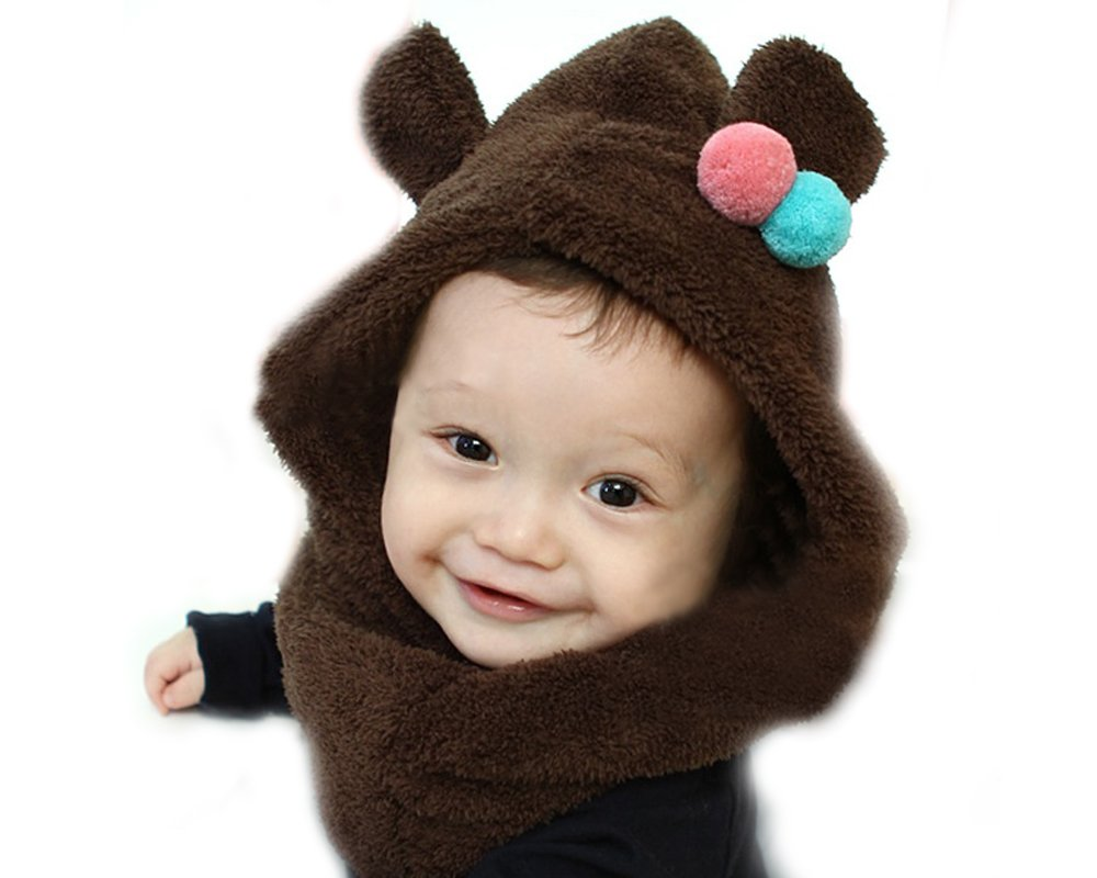 Bonamart Baby Boy Girl Kids Children Earmuff Velvet Siamese Hat Cap neckerchief Scarf Brown