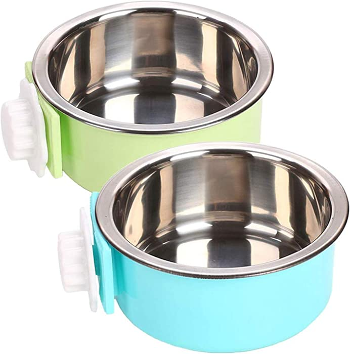 YEIRVE Crate Dog Food Water Bowls, 2-in-1 Plastic Bowl & Stainless Steel Pet Bowl, Removable Hanging Cat Food Bowls Perfect for Crates, Healthy & Hygienic Bowls Bowl.