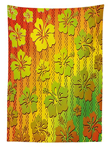 Rasta Tablecloth by Ambesonne, Hibiscus Exotic Jamaican Island Flower with Zig Zag Lines Print, Dining Room Kitchen Rectangular Table Cover, 52 W X 70 L Inches, Light Green Red and Marigold