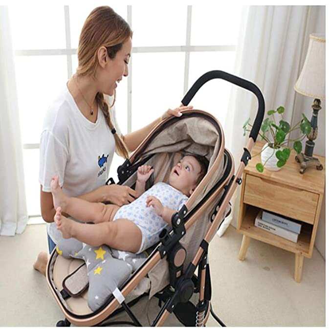 Two Sides Design Warm in Winter Cool in Summer Baby Stroller Seat Cushion Cotton Mat Universal Kids Stroller Pushchair Buggy Cushion Pad Mat Cartoon Printed Soft Thick Pad