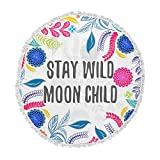 KESS InHouse Famenxt Stay Wild Moon Child Multicolor White Floral Typography Illustration Vector Round Beach Towel Blanket