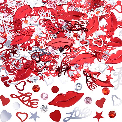 TecUnite 4000 Pieces Valentine Confetti for Valentines Day Wedding Party Table Decoration with Heart, Love, Lip Print, Acrylic Diamond Shape Design Confetti, 3.5 Ounce