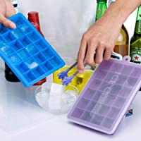 Ice Cube Trays 1 Pack, Silicone Ice Tray with Removable Lid Easy-Release Flexible Ice Cube Molds 24 Cubes per Tray for Cocktail, Whiskey, Baby Food, Chocolate, BPA Free (blue or purple, color random)
