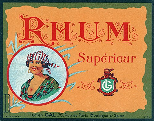 Rhum Superieur (Islander in with a Head Scarf) Brand Rum Label (16x24 SIGNED Print Master Giclee Print w/Certificate of Authenticity - Wall Decor Travel -