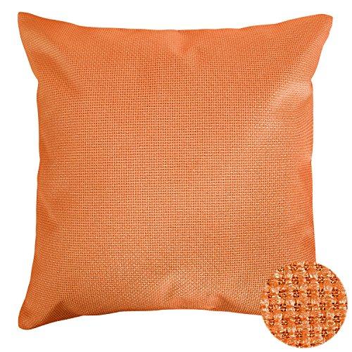 Bamboo Woven Throw (Deconovo Linen Pillow Cover Decorative Woven Throw Cushion Case With Invisible Zipper For Car Pillow Cases 18x18 Orange)