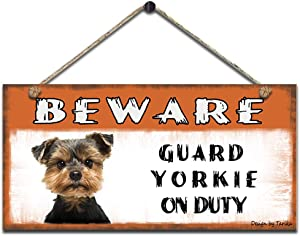 Beware Guard Yorkie On Duty Retro Wooden Public Decorative Hanging Sign for Home Door Fence Vintage Wall Plaques Decoration(5x10Inches)