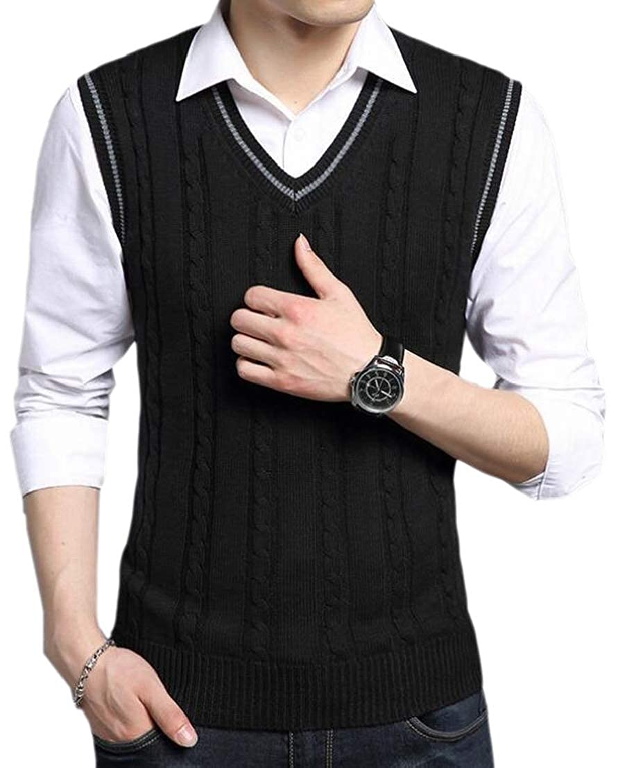 GenericMen V Neck Cable Knitwear Sleeveless Sweater Casual Vest