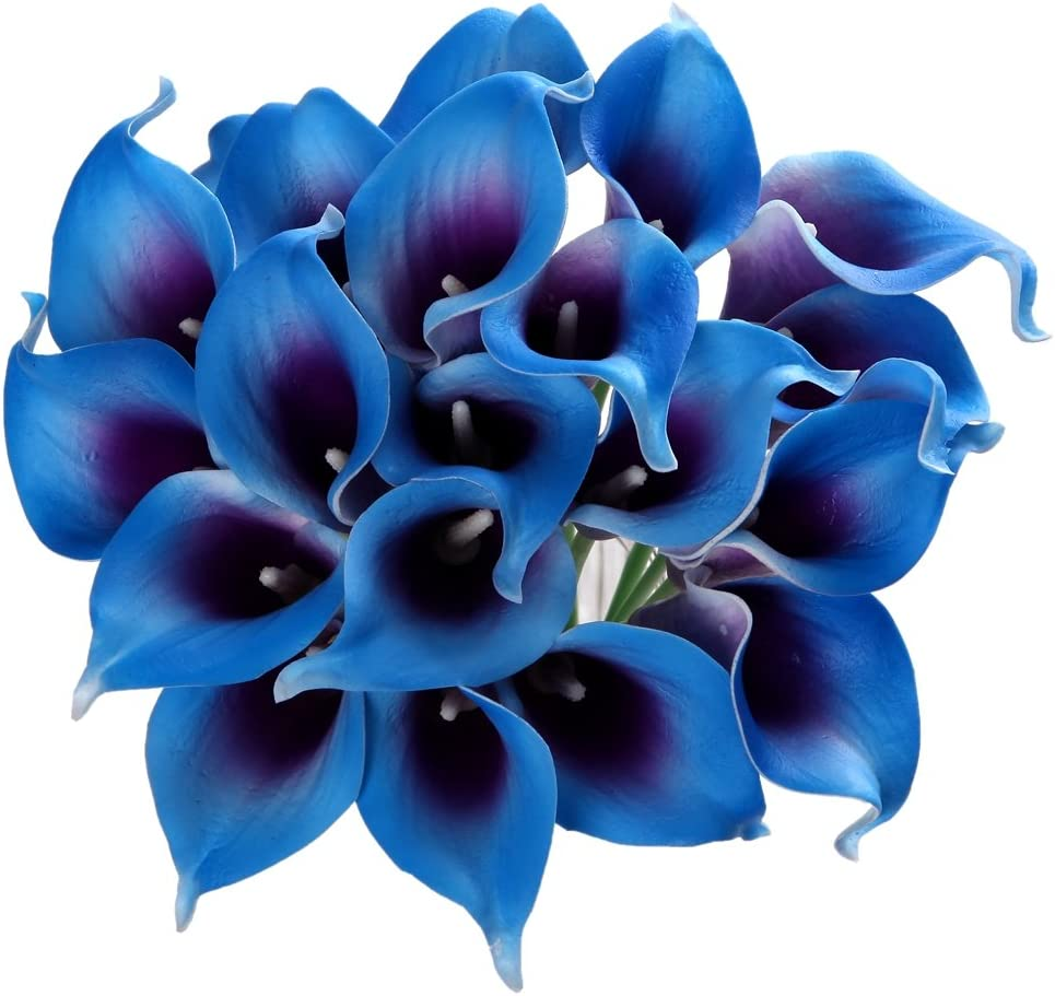 Houda Calla Lily Bridal Wedding Artificial Fake Flowers Party Decor Bouquet PU Real Touch Flower 20PCS (Dark Blue)