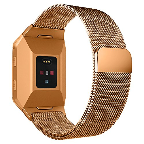 UMTELE For Fitbit Ionic Bands, Milanese Mesh Loop Strap Stainless Steel Metal Bracelet with Unique Magnet Closure, No Buckle Needed for Fitbit Ionic Smart Watch, Large, Burnt Orange