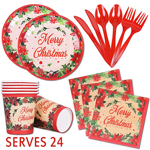 Christmas Paper Plates and Napkins 9″ Flower Disposable Tableware Decorations Luncheon Dinnerware, Serves 24